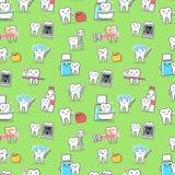 Gesunde Zähne interessieren sich nahtloses Muster der Behandlung und der Hygiene lizenzfreie abbildung