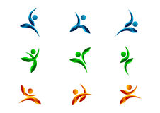 Gesunden, des Athleten, des Körpers, des Vektors, der Ikone und des Designs Satz des Active, der Leute, des Logos, des Charakters Stockbild