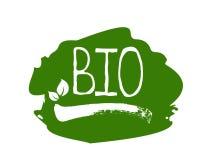 Gesunder Bioaufkleber des biologischen Lebensmittels und Produkt der hohen Qualität wird deutlich Eco, 100 Bio und Naturproduktik vektor abbildung