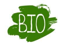 Gesunder Bioaufkleber des biologischen Lebensmittels und Produkt der hohen Qualität wird deutlich Eco, 100 Bio und Naturproduktik lizenzfreie abbildung