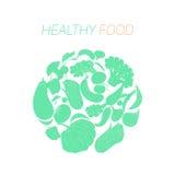 Gesunder Lebensmitteltext des grünen Gemüses lizenzfreie stockbilder