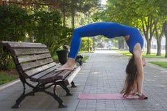 Gesunder Lebensstil in der Natur, Frau, die Yogaübung auf Matte im Park tut lizenzfreie stockfotografie