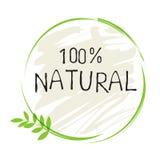 Gesunder organischer Bioaufkleber des Naturproduktes 100 und Produkt der hohen Qualität wird deutlich Eco, 100 Bio und Naturkostp lizenzfreie abbildung
