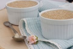 Gesunder Pudding gemacht von den Tapiokaperlen und -Kokosmilch stockfotos