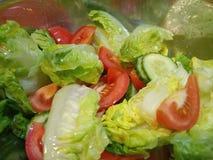 Gesunder Salat in einer silbernen Schüssel stockbild
