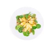 Gesunder Salat mit Apfel und Walnüssen Stockbild