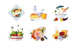Gesunder Satz des biologischen Lebensmittels, Diätmenü, Molkerei, Gemüse und Fleischwaren vector Illustration auf einem weißen Hi vektor abbildung