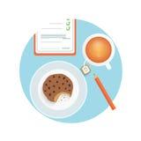 Gesunder schneller Snack mit Tasse Kaffee, Keks Stockbilder
