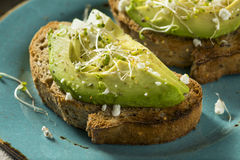 Gesunder selbst gemachter Avocado-Toast Lizenzfreies Stockbild
