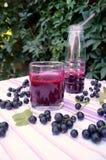 Gesunder Smoothie von der Beere des Vitamingetränks der schwarzen Johannisbeere, Sommernachtischkonzept Stockbilder