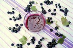 Gesunder Smoothie von der Beere des Vitamingetränks der schwarzen Johannisbeere, Sommernachtischkonzept Stockfotografie