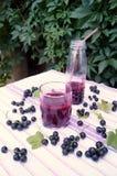 Gesunder Smoothie von der Beere des Vitamingetränks der schwarzen Johannisbeere, Sommernachtischkonzept Stockbild