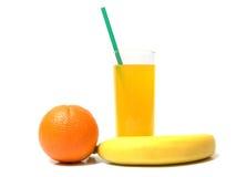 Gesunder und geschmackvoller Bananensaft und -orange Lizenzfreie Stockfotos