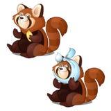 Gesunder und kranker roter Panda lokalisiert auf weißem Hintergrund Vektorkarikatur-Nahaufnahmeillustration Stockbilder