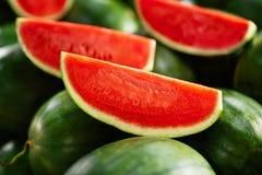 Gesundes biologisches Lebensmittel Wassermelonenscheiben Nahrung, Vitamine Franc Lizenzfreie Stockfotos