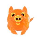 Gesundes Essen Kleines Schwein, gemacht von der Orange Lizenzfreies Stockfoto