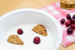 Gesundes Frühstück, das natürlichen Joghurt, Vollkorngetreidekekse und frische Moosbeeren enthält Lizenzfreie Stockfotos