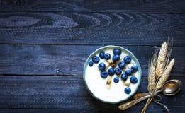 Gesundes Frühstück mit Blaubeeren und Bananenjoghurt Stockbilder