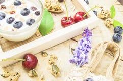 Gesundes Frühstück mit frischem Jogurt, Granola und muesli mit Kirsche und Beeren im kleinen Glas auf hölzernem Behälter, Nahrung stockfoto