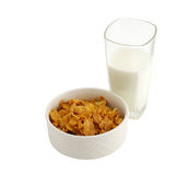 Gesundes Frühstück mit Getreide und Milch Stockbilder