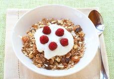 Gesundes Frühstück mit muesli und Joghurt Stockfoto