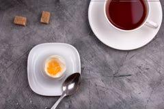 Gesundes Frühstück weich gekocht Ei mit Tee stockfotografie