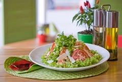 Gesundes gegrilltes Huhn Caesar Salad mit K?se und Croutons lizenzfreies stockfoto
