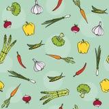 Gesundes Gemüse des biologischen Lebensmittels vom Landwirtmarkt - nahtloses Vektormuster Lizenzfreies Stockbild