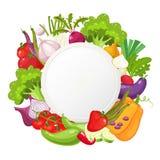 Gesundes Gemüse und runde Fahne des vegetarischen Lebensmittels Neues biologisches Lebensmittel, Hintergrund der gesunden Ernähru Lizenzfreie Stockfotos