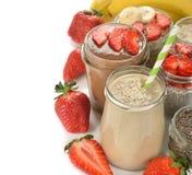 Gesundes Getränk gemacht vom Hafermehl und von einer Banane Lizenzfreie Stockfotos