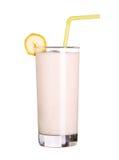 Gesundes Glas Smoothiesbananenaroma lokalisiert auf Weiß Stockbilder