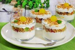 Gesundes köstliches Frühstück - Teile frischer Jogurt mit gran Lizenzfreie Stockbilder