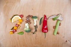 Gesundes Konzept des Lebensmittel-2017 Lizenzfreies Stockfoto