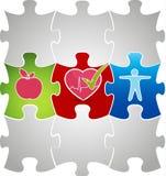Gesundes lebendes Puzzlespielkonzept. Gesundes Lebensmittel und Eignung führt zu Stockbilder