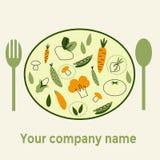 Gesundes Lebensmittel des Firmennamens auf weißem Hintergrund mit modischen linearen Ikonen und Zeichen des Gemüses Stockbilder