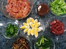 Gesundes Lebensmittel: Ei, Huhn usw. Lizenzfreie Stockfotografie