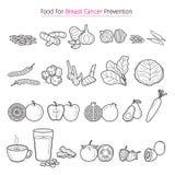 Gesundes Lebensmittel für die Brust-Krebspräventions-Entwurfs-Ikonen eingestellt lizenzfreie abbildung