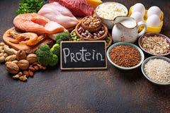 Gesundes Lebensmittel hoch im Protein lizenzfreie stockbilder