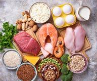 Gesundes Lebensmittel hoch im Protein stockfotos