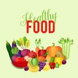 Gesundes Lebensmittel mit Gemüse- und Fruchthintergrund Auch im corel abgehobenen Betrag Lizenzfreie Stockfotografie