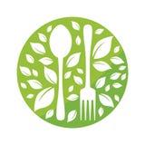 Gesundes Lebensmittelikonen- oder Logovektordesign lizenzfreies stockbild