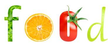 Gesundes Lebensmittelwort Lizenzfreies Stockbild