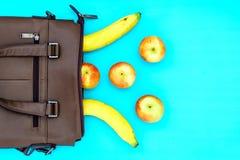 Gesundes Lebensstil-Diät-Nahrungs-Konzept-Draufsicht der Banane und stockbild