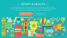 Gesundes Lebensstilkonzept mit Lebensmittel- und Sportikonen Schablonentitel infographics Konzept des Sports und der Eignung entw vektor abbildung