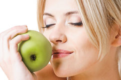 Gesundes Mädchen und Apfel Lizenzfreie Stockfotografie