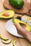 Gesundes Nahrungsmittelkonzept Essen der frischen organischen Avocado Lizenzfreie Stockfotografie