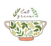 Gesundes Nahrungsmittelplakat mit Text - 'essen Sie Grüns ' Frischer grüner Vitaminsalat Auch im corel abgehobenen Betrag stock abbildung