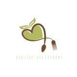 Gesundes Restaurantkonzept mit Herzlöffel Lizenzfreie Stockfotos