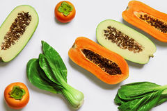 Gesundes rohes biologisches Lebensmittel Früchte, Gemüse-Hintergrund Vegetar stockbild