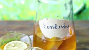 Gesundes Tee kombucha mit Zitrone und Zimt Rezept für selbst gemachtes Kombucha stock video footage